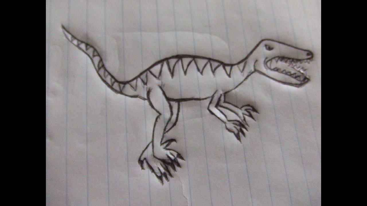 Dibujos De Dinosaurios: Como Dibujar Un Dinosaurio Raptor