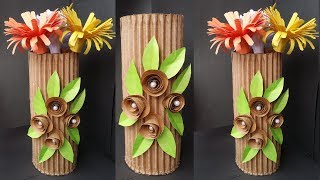 DIY: How to Make Beautiful Flower Vase With Cardboard /Best out of waste Flower vase..Unique!!!