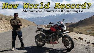 Bike Stunts World Record in Khardung La #Ladakh ?