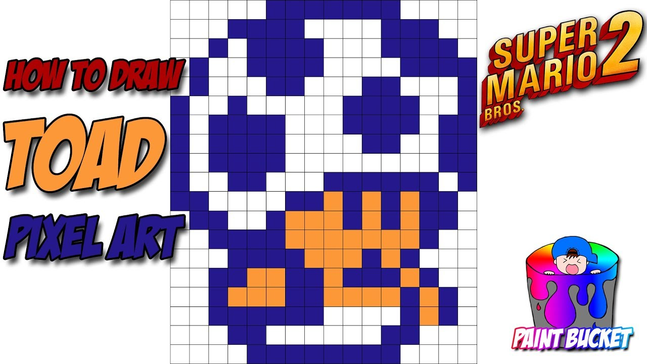 How To Draw Toad From Super Mario Bros 2 Smb2 8 Bit Pixel Art Drawings