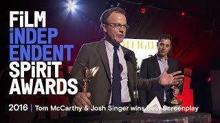Tom McCarthy & Josh Singer win Best Screenplay at the 2016 Film Independent Spirit Awards