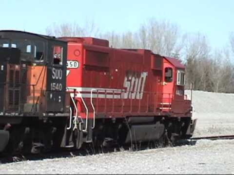 SOO 1540 and 4450 on a Waterloo Rock Train 4/14/2008