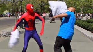Spider-Man Pillow Fight Prank!