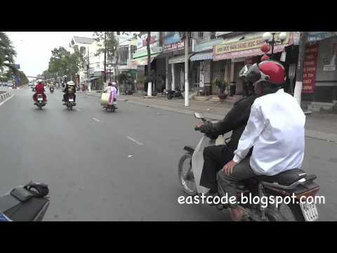 motorbike ride from Blue diamond hotel downtown Bac Lieu to Bus station