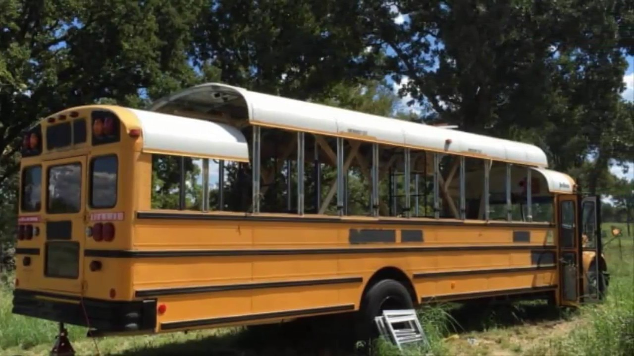 man buys old yellow school bus for 2 200 then completely transforms it into gorgeous tiny home. Black Bedroom Furniture Sets. Home Design Ideas