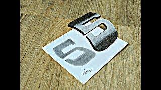 Floating Number 5 - How To Draw Number Five - 3d trick art - Art Maker Akshay