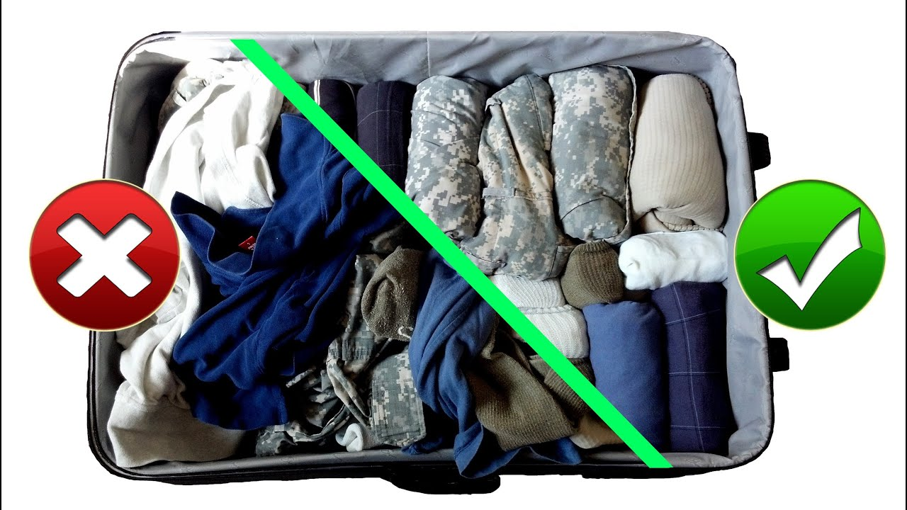 Best way to fold clothes for a trip - Army Hack Packing Suitcase Baggage Like A Pro For Travel Space Saving Military Style Youtube