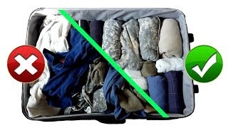 Army Hack: Packing Suitcase / Baggage Like a Pro for Travel || Space Saving Military Style