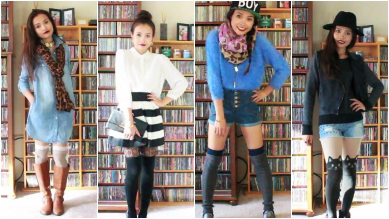 0536e1eae962 Thigh High Knee Socks Styling Lookbook - YouTube