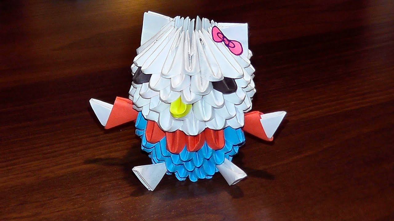 3D origami Hello Kitty tutorial for beginners - YouTube - photo#4