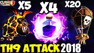Penta Lavaloon Attack Strategy On Max Th9 2018 | 3 Star On Max Th9 War Base 2018| Clash Of Clans