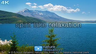 Spirit Lake Relaxation: 2.5 HR Ambient 4K Nature Film (with Lake Sounds) Mt St Helens, Washington