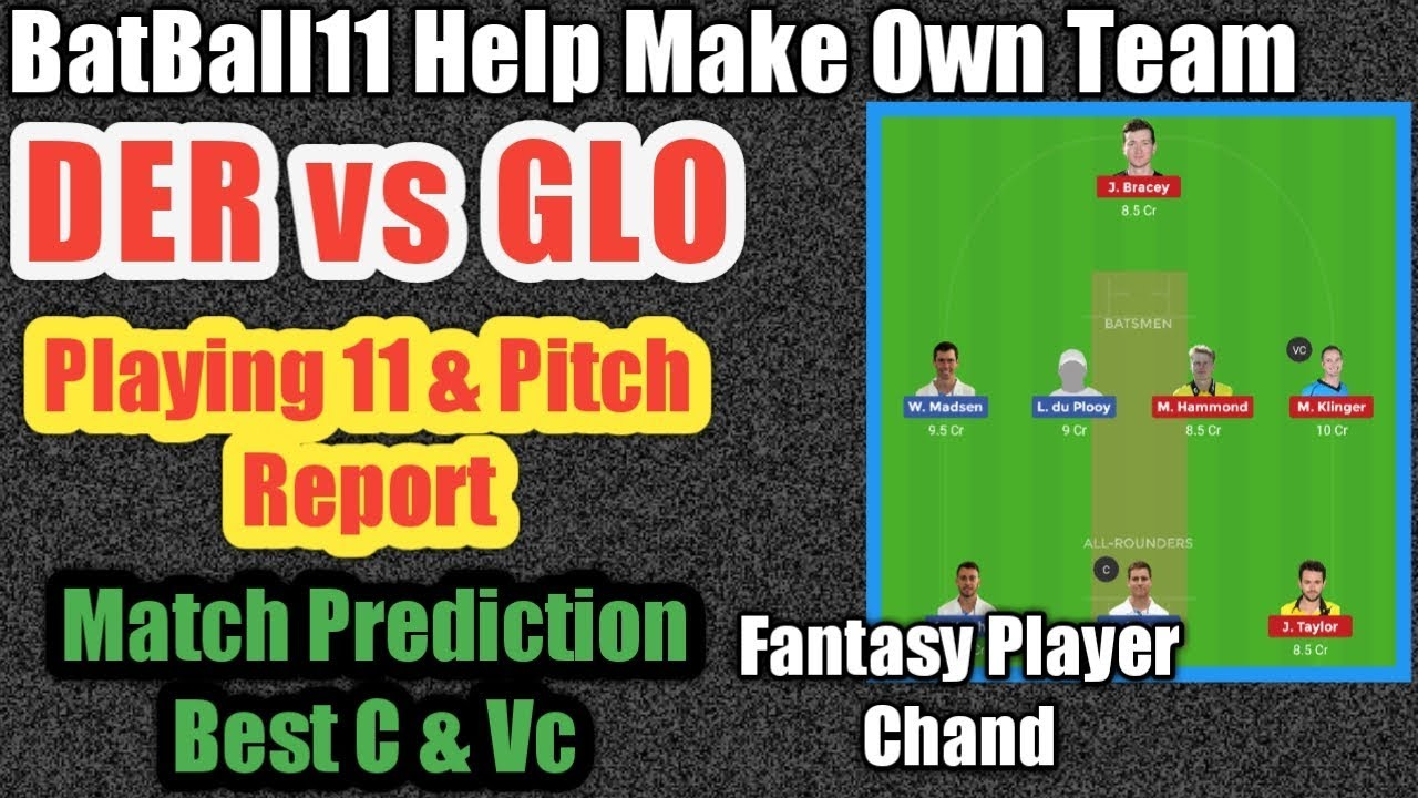 GLO vs DER Dream11 Team || Pitch Report || Derbyshire vs Gloucestershire ||  DER vs GLO || BatBall11