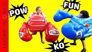 MEGA BOXING GLOVES & SUMO BODY BUMPERS CRAZY FUN GAME! SAFE KIDS TOYS & PARTY GAMES!