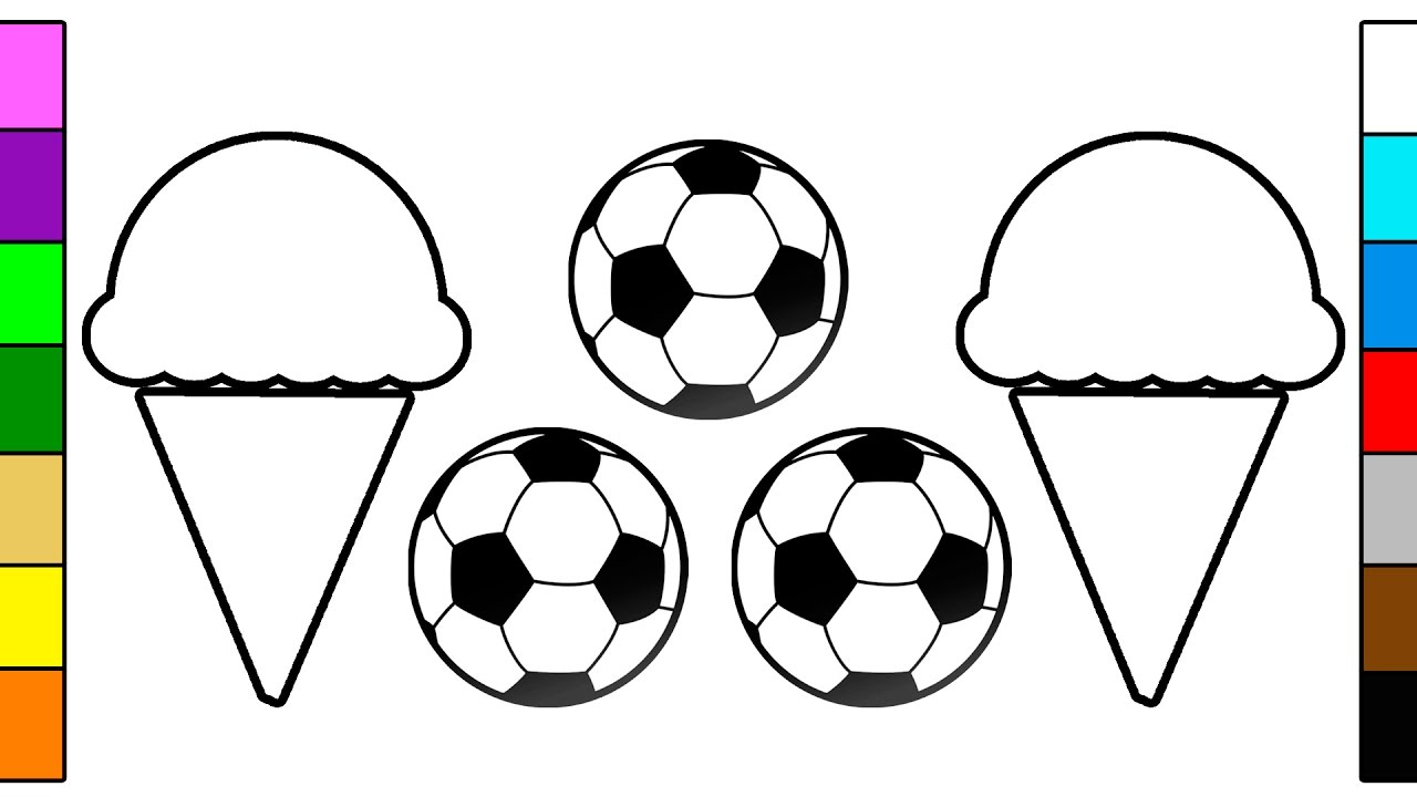 Chocolate Ice Cream & Soccer Ball Coloring Page For Baby