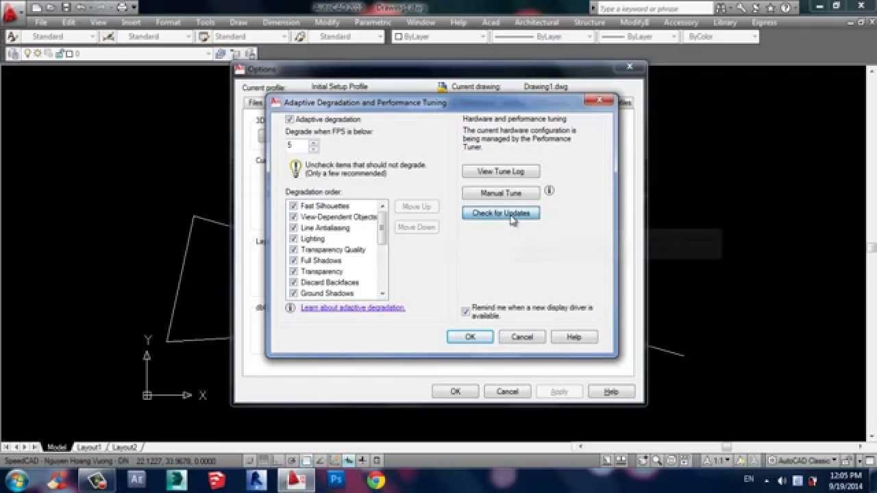 Hướng dẫn khắc phục hiện tượng giật khi vẽ trong Autocad phiên bản 2010 trở đi ở laptop