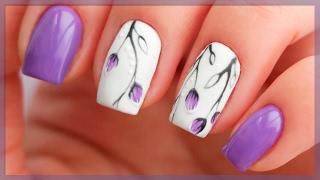 Весенний маникюр 2017 | Дизайн ногтей с веточками и бутонами | Сиреневые ногти
