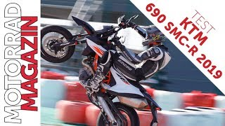 KTM 690 SMC R 2019 Test - Wheelies mit Traktionskontrolle, Stoppies mit ABS.
