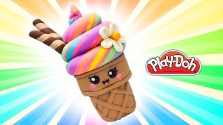 Play Doh Rainbow Ice Cream. How to Make Cute Ice Cream. Learn Colors Video. Easy DIY for Kids