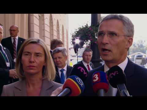 Joint doorstep by Federica MOGHERINI and Jens STOLTENBERG