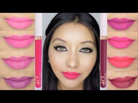 NEW MyGlamm LIT Liquid Matte Lipstick Review & Lip Swatch || 8 Shades
