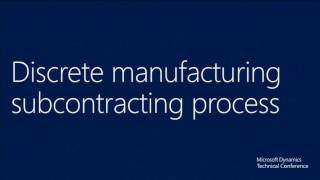 Subcontracting operations and activities in manufacturing