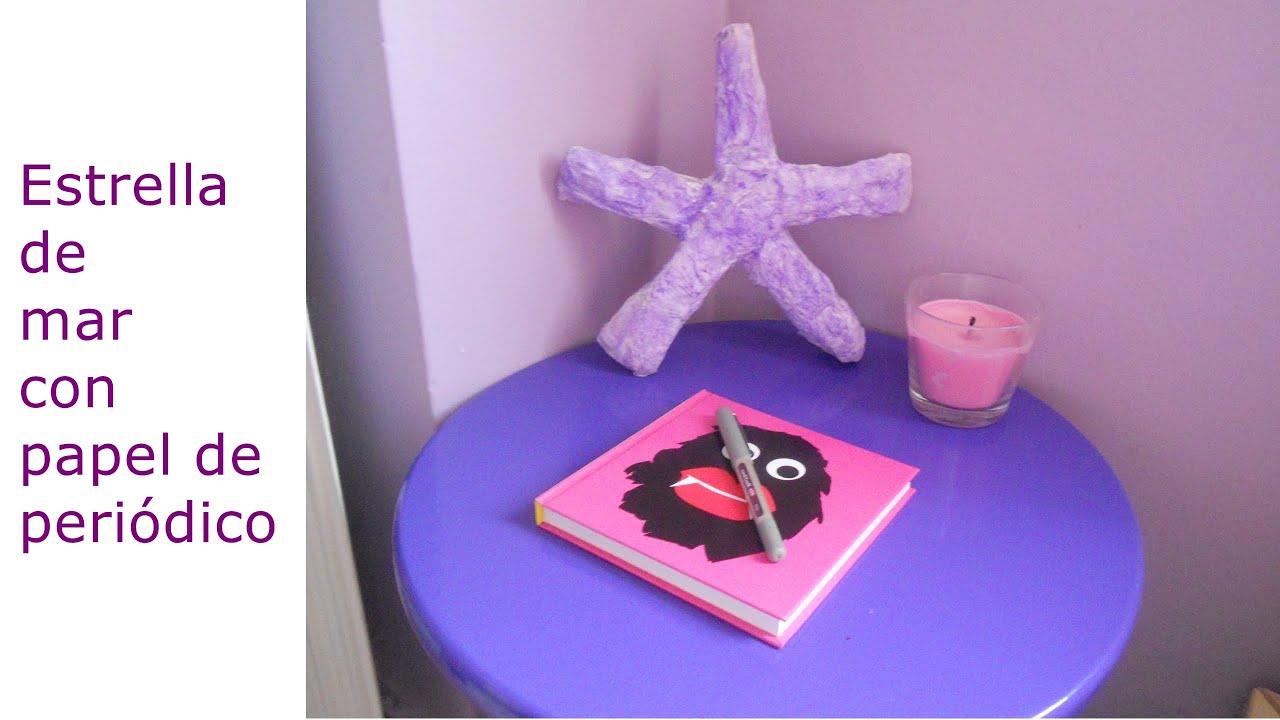 Estrella de mar con papel de peri dico youtube - Manualidades con papel periodico ...