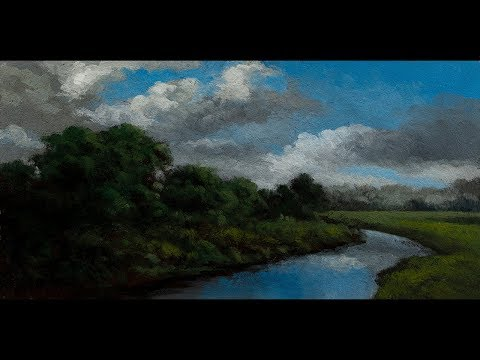 Stream through the Pasture Tonalist Landscape Oil Painting Demonstration