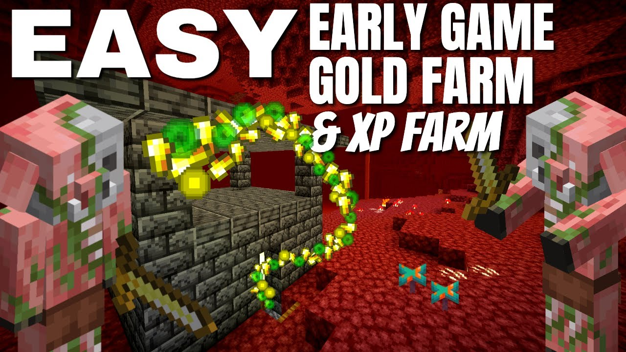 EASIEST Minecraft Gold Farm for Early Game   Minecraft 1.17 Gold Farm No Nether Roof or Magma Blocks