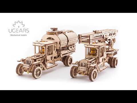Ugears 3D Mechanical Wood Puzzle Fire Ladder Truck + Tanker DIY Kits   STEM Projects for Adults