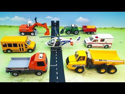 Самосвал Экскаватор Трактор Бульдозер рабочие машины для мальчиков Распаковка Игрушки для детей.