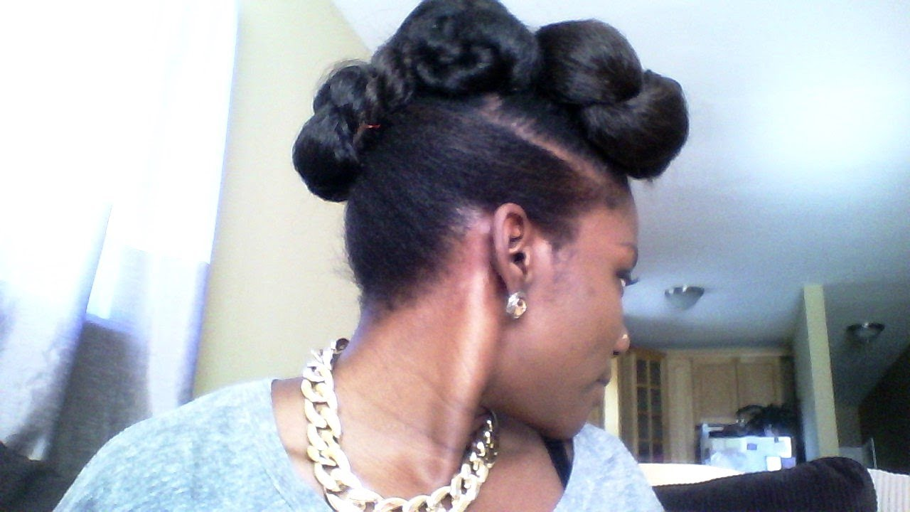 Faux bun natural updo with braiding hair  my daughters