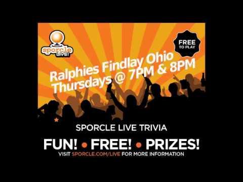 Thursday @ Ralphie's Findlay Ohio 7PM Sporcle Live Trivia