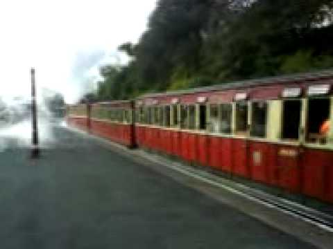 Isle of Man Transport:Steam train departing Douglas Station Isle of Man.