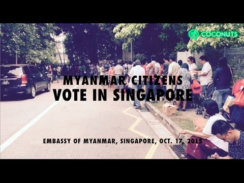 Incredible numbers of Myanmar citizens line up to vote in Singapore | Coconuts TV