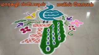 Margazhi Special Kolam | மார்கழி ஸ்பெஷல் கோலம் | மயில் கோலம் | Vanna Kolangal