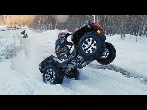 We load on the BRP Xmr 1000 and Can am Renegade on a snowy BREED