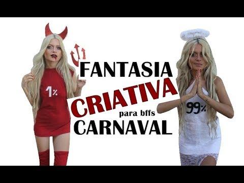 Fantasia criativa para o carnaval - ANJO E DIABINHA, Rayssa Azevedo