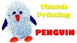 How to Make Thumb Printing Penguin | Creative Art Work | Easy Drawing Steps