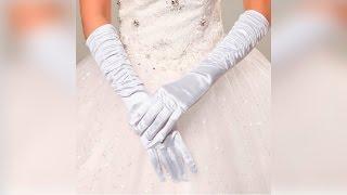 Атласные свадебные перчатки по локоть белые классика посылка покупка с китая aliexpress