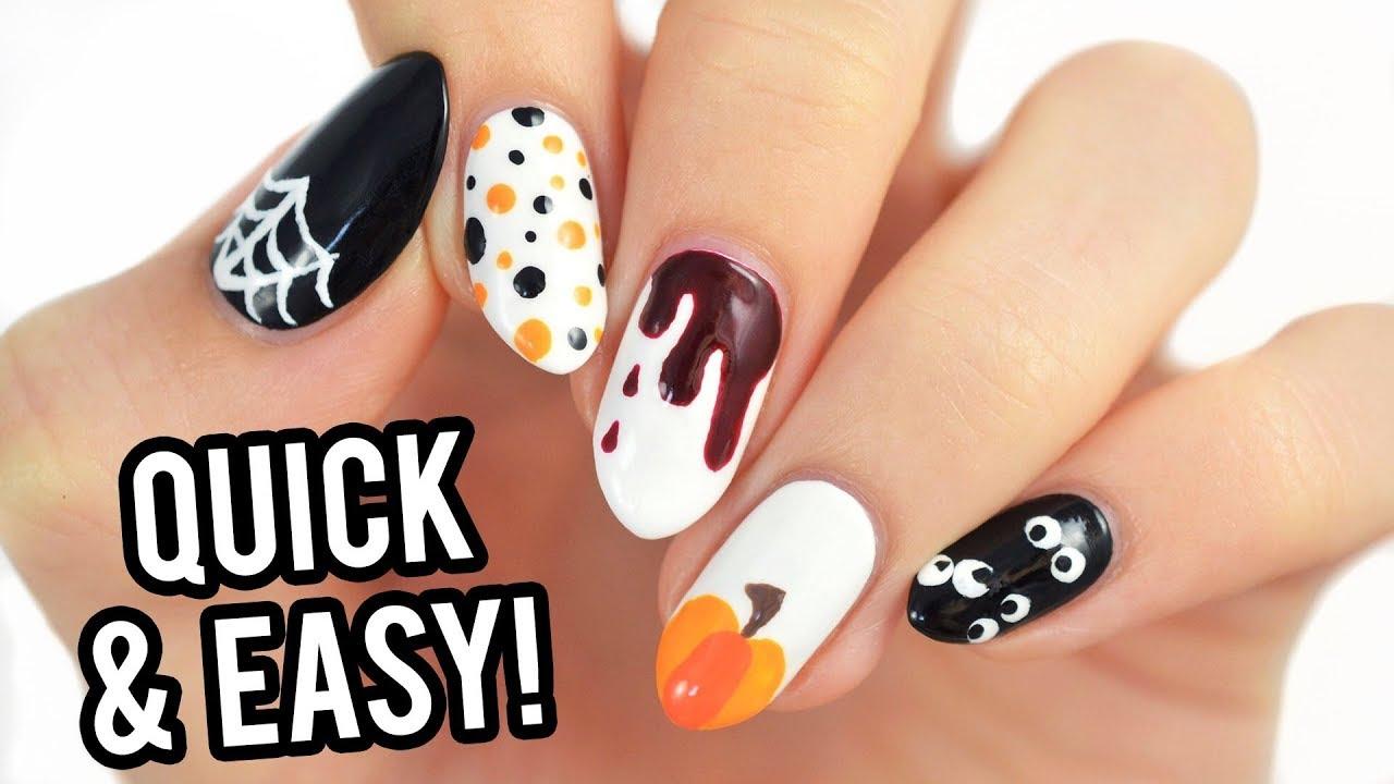 5 last-minute halloween nail art designs using toothpicks! - youtube