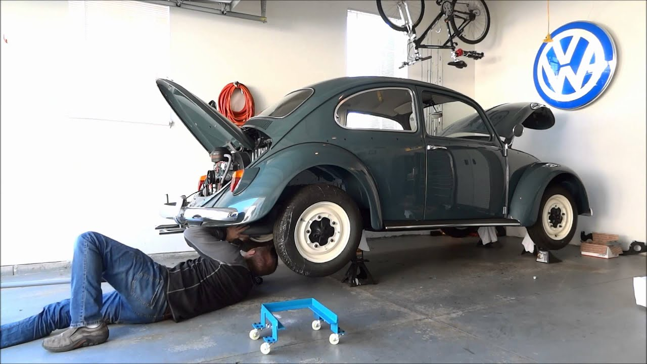 1966 vw beetle - engine install  4x speed