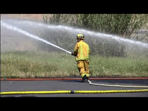 Fireman Firefighter Fire Man Men Department Truck In Action Training Exercise Engine Review