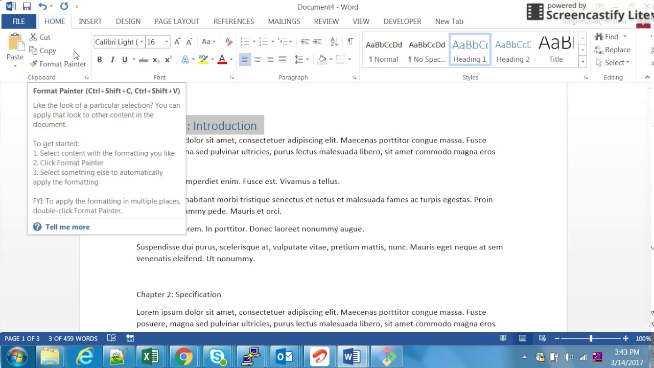 how to set table of contents in ms word