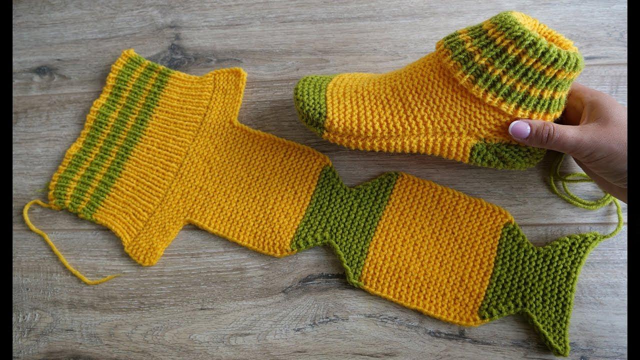 Носки на двух спицах Турецким способом вязания | Two Needle Socks knit pattern