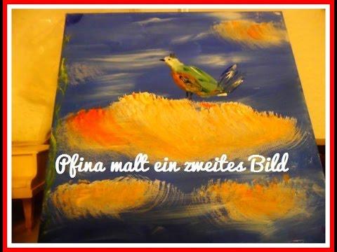 Pfina malt ein Zweites Bild Vogel auf Wolke - Painting