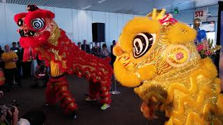 Lion Dance during Singapore Airlines Inaugural Flight from Seattle to Singapore