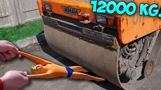 12 TONS ROAD ROLLER VS STRETCH ARMSTRONG