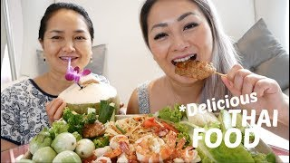 Thai FOOD (Papaya salad, Garlic shrimp, BBQ Pork & Veggies | MUKBANG | N.E Let's Eat