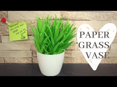How To Make  Paper Grass Vase | DIY | Artificial Paper Leaf Making | Home Decor | Paper Crafts